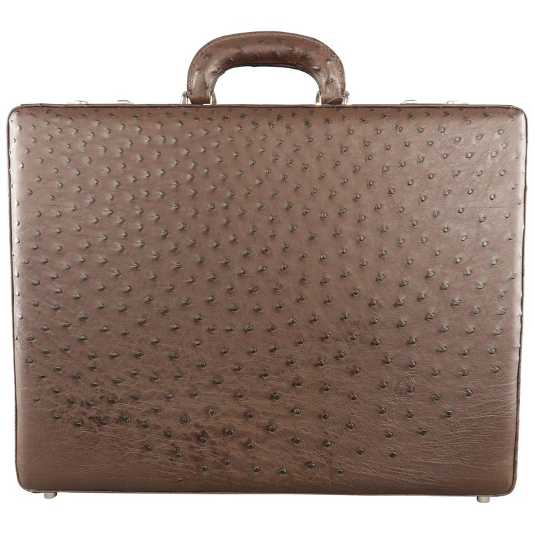 New COLE HAAN Large Brown Ostrich Leather Silver Lock Briefcase Retail - $2,750