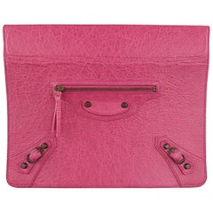BALENCIAGA Dark Fuchsia Pink Textured Leather Moto Ipad 2 Stand Case