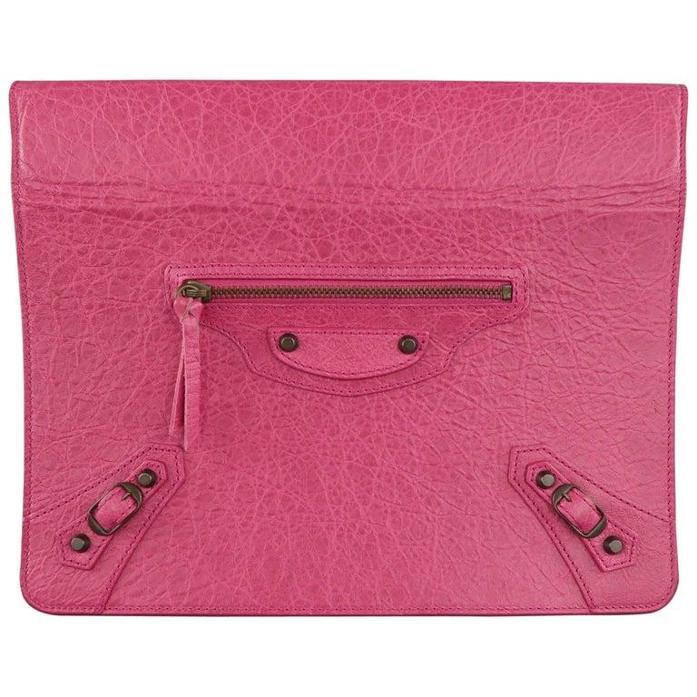 BALENCIAGA Dark Fuchsia Pink Textured Leather Moto Ipad 2 Stand Case