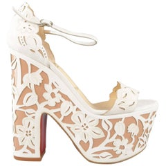 CHRISTIAN LOUBOUTIN Size 9 Off White Floral Suede Platform 'Houghton' Sandals
