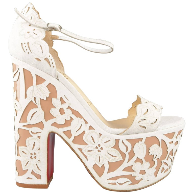 CHRISTIAN LOUBOUTIN Size 9 Off White Floral Suede Platform 'Houghton' Sandals 1