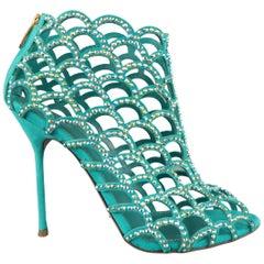 SERGIO ROSSI Size 8.5 Aqua Rhinestone Suede Peep Toe Cage Mermaid Sandals
