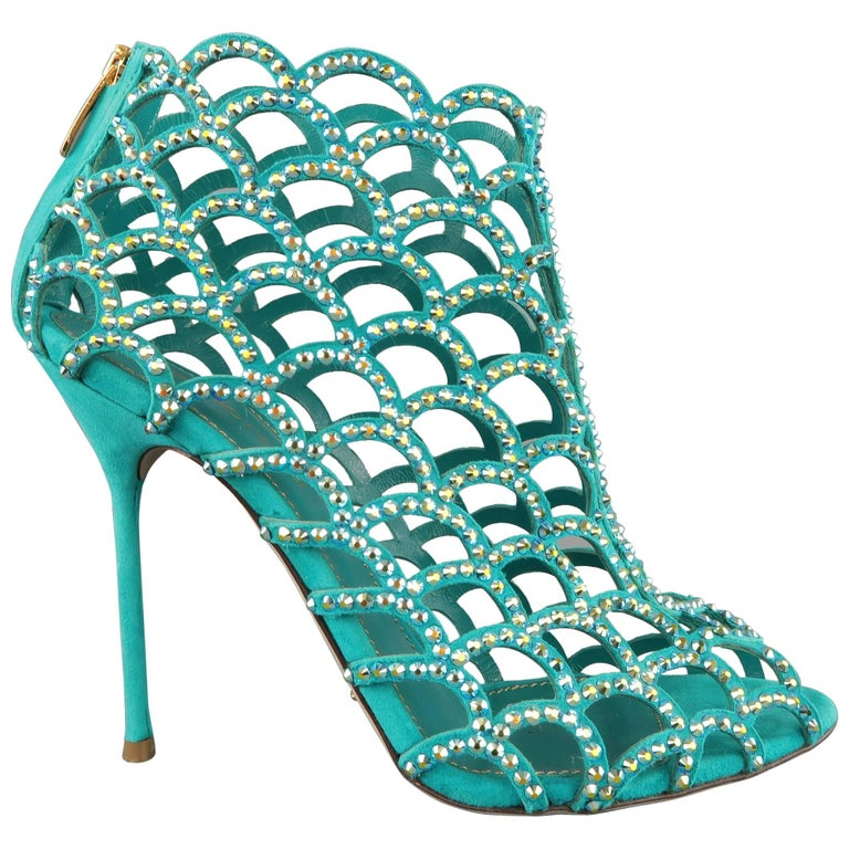 Sergio Rossi Size 8 5 Aqua Rhinestone Suede Peep Toe Cage Mermaid Sandals For Sale At 1stdibs