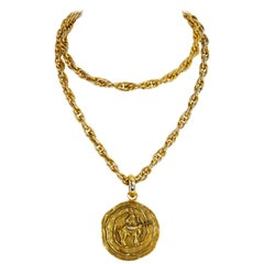 1984 Chanel Sagittarius Zodiac Medallion Necklace