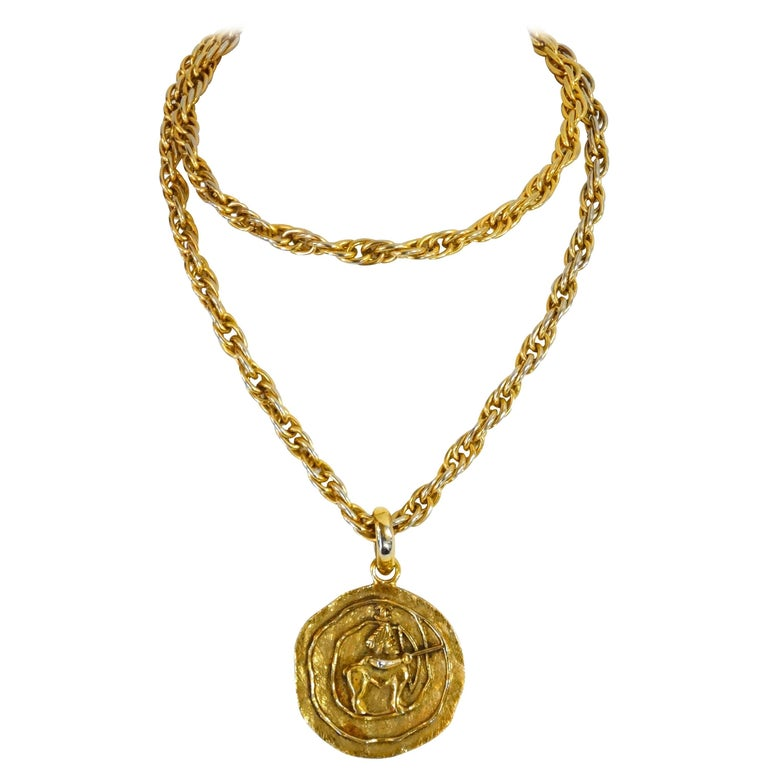 1984 Chanel Sagittarius Zodiac Medallion Necklace   1