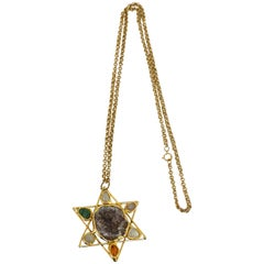 1970s Artisan Star of David Quartz Necklace
