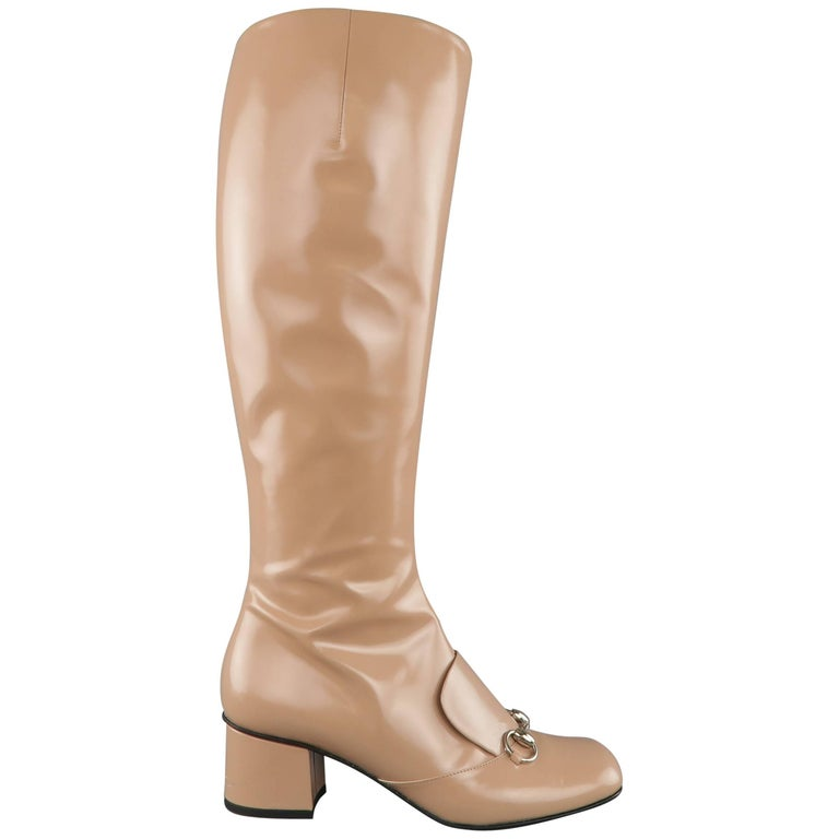 GUCCI Size 8.5 Tan Glossy Leather Horsebit 'Lillian' Knee Boots 1