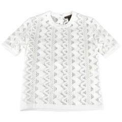 LOUIS VUITTON Size S White Zig Zag Crochet Mesh Knit Dress Top