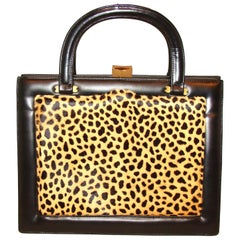 Architectural Spotted Fur Top Handles 1960's Bag FALL!