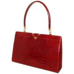 Vintage Wine Red Alligator Kelly Style Bag