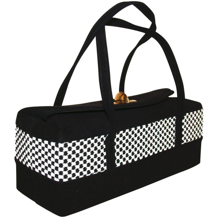 Black and White Rectangular Box Purse