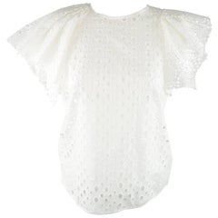 ISABEL MARANT Size S White Perforatd Cotton Asymmetrical Ruffle Sleeve Dress Top