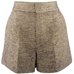CHLOE Size 2 Metallic Gold & Beige Wool / Silk Striped Tweed Shorts