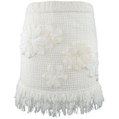 CHANEL Size 4 White Cotton Mesh Knit Floral Applique Fringe Mini Skirt