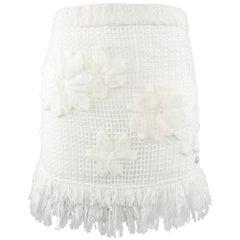 CHANEL Size 6 White Cotton Mesh Knit Floral Applique Fringe Mini Skirt