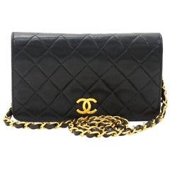 Chanel Black Quilted Leather Shoulder Flap Mini Bag Ex