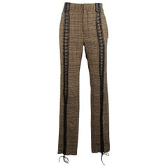 JEAN PAUL GAULTIER Size 30 Tan Glenplaid Wool Blend Leather Lace Up Pants