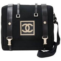 Chanel Black Cotton x Leather 2 in 1 Shoulder Backpack Bag