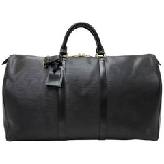 Vintage Louis Vuitton Keepall 50 Black Epi Leather Travel Bag