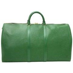Louis Vuitton Vintage Keepall 55 Green Epi Leather Duffle Travel Bag