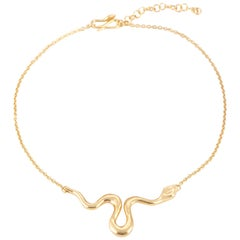 Giulia Barela Ribbon M necklace, gold plated bronze