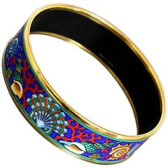 Vintage Hermes cloisonne enamel blue ocean, sea, yellow, colorful bangle bracele