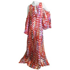 Emilio Pucci Sheer Cold Shoulder Patterned Caftan New with Tags Size L