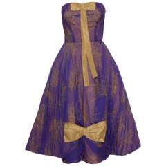 1950s Purple Organdy Silk Cocktail Evening Strapless Circle Dress