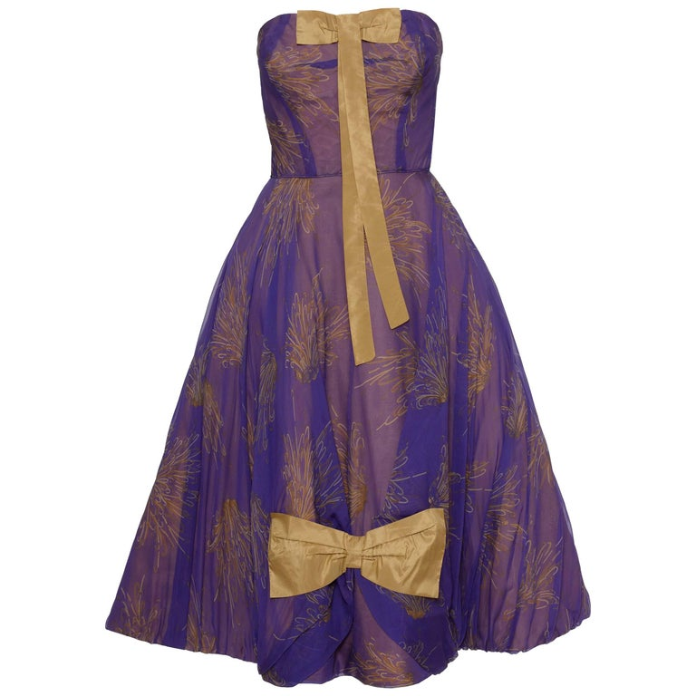 1950s Purple Organdy Silk Cocktail Evening Strapless Circle Dress