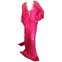 Roberto Cavalli Sheer Red Caftan with Gold Embellishents for Just Cavalli NWT