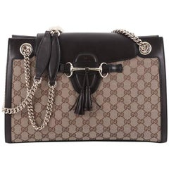 Gucci Emily Chain Flap Shoulder Bag GG Canvas Large