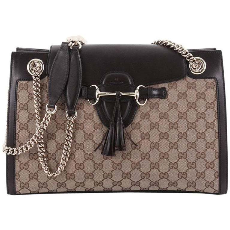 a9430d202542 Gucci Emily Chain Flap Shoulder Bag GG Canvas Large at 1stdibs