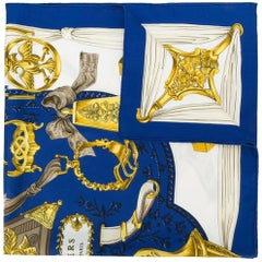 Hermes Blue Silk 'Etriers' Scarf