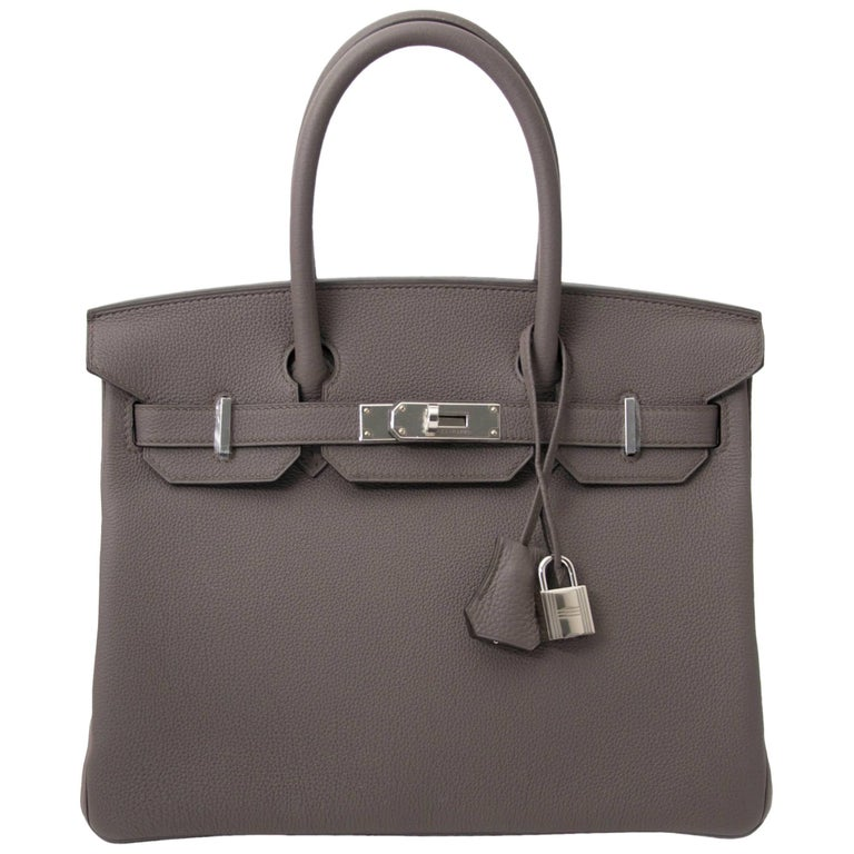Never Used Hermes Birkin 30 Etain Togo PHW For Sale