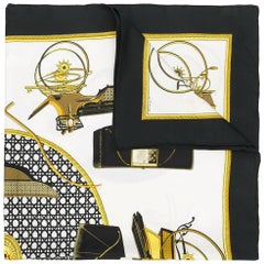 Hermes Black Silk 'Les Voitures A Transformation' Scarf