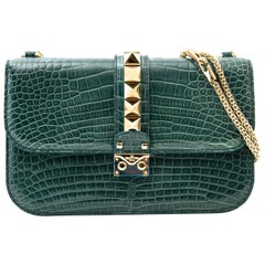 Never Used Valentino Rocklock Medium Alligator Crossbody Bag