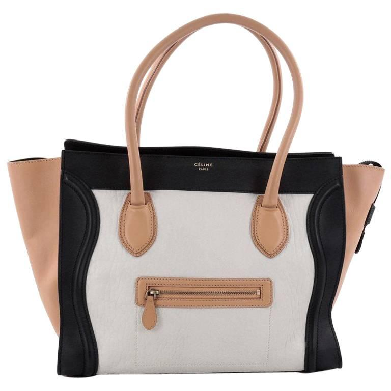 Celine Tricolor Shoulder Luggage Bag Leather