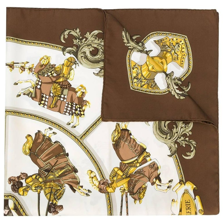 Hermès Brown Silk 'Chevalerie' Scarf