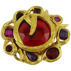 Yves Saint Laurent YSL Vintage Jewelled Brooch Pendant