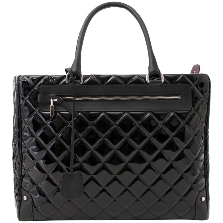576776d41b21 Chanel Vinyl Quilted Calfskin Travel Tote For Sale at 1stdibs