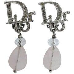 Christian Dior Diamante Logo and Quartz Dangling Earrings