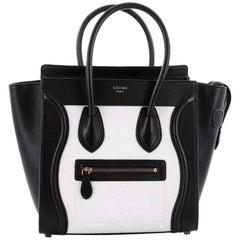 Celine Bicolor Luggage Handbag Leather Micro