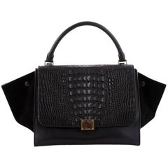 Celine Trapeze Handbag Crocodile and Leather Medium