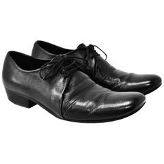 Yohji Yamamoto Black Leather Lace Up Turn Up Shoes