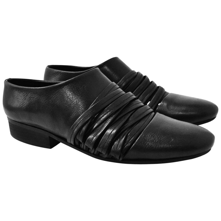 Yohji Yamamoto Black Leather Multi Strap Slip On Shoes 1