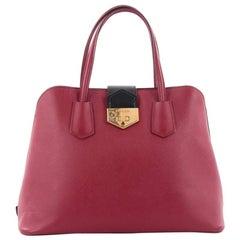 Prada Convertible Turnlock Flap Promenade Handbag Saffiano Leather