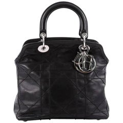 Christian Dior Granville Satchel Cannage Quilt Leather