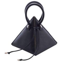 NitaSuri Lia Black Leather Pyramid Handbag