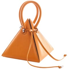 NitaSuri Lia Mustard Leather Pyramid Handbag
