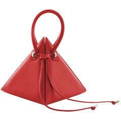 NitaSuri Lia Red Leather Pyramid Handbag